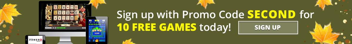 iLottery Banner. Sign up with promo code second for ten free games today. Sign up.